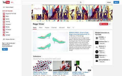 Screenshot of YouTube Page youtube.com - Roger Vivier  - YouTube - captured Oct. 29, 2014