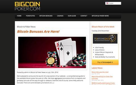 Screenshot of Press Page bigcoinpoker.com - Bitcoin & Poker News Archives - BigcoinPoker.com - captured Nov. 22, 2016