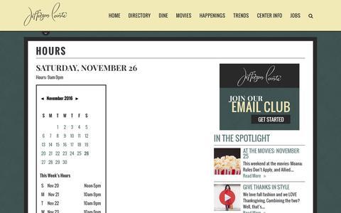 Screenshot of Hours Page jeffersonshopping.com - Jefferson Pointe :: 4130 W Jefferson Blvd Suite I-12 Fort Wayne, IN 46804 - captured Nov. 26, 2016