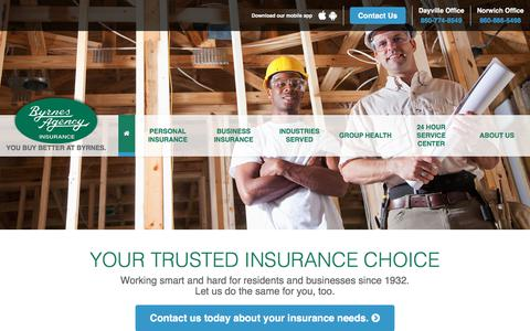 Screenshot of Home Page byrnesagency.com - Byrnes Agency | Connecticut's Insurance Agency - captured Aug. 27, 2017