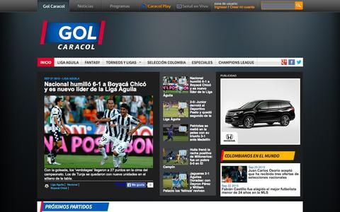 Screenshot of Home Page golcaracol.com - Noticias de Fútbol Colombiano e Internacional | Golcaracol.com - captured Sept. 28, 2015