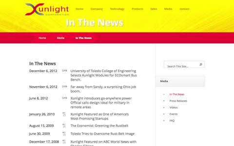 Screenshot of Press Page xunlight.com - In The News - Xunlight - captured Sept. 17, 2014