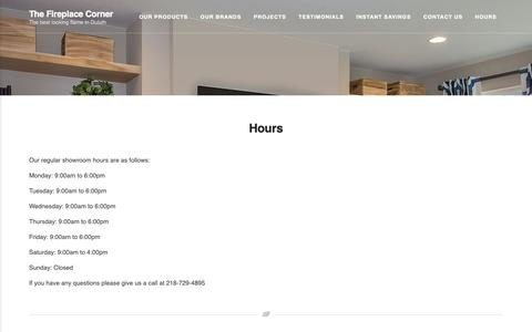 Screenshot of Hours Page fireplaceduluth.com - Hours - The Fireplace Corner - captured Oct. 5, 2018