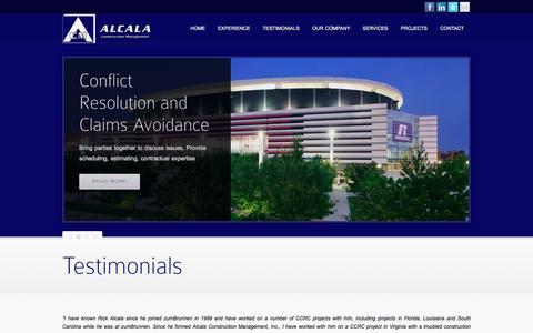 Screenshot of Testimonials Page alcalacm.com - Testimonials - captured Oct. 4, 2014