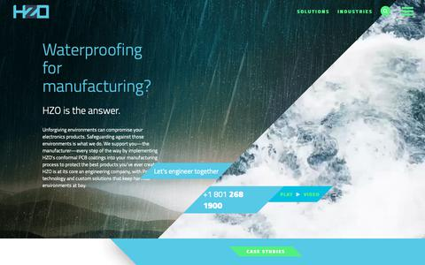 Screenshot of Home Page hzo.com - Conformal &PCB Coatings Parylene Solutions for Waterproof Electronics - captured Oct. 21, 2018
