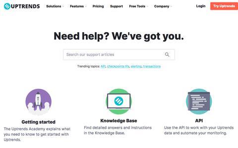 Screenshot of Support Page uptrends.com - Support | Uptrends - captured Nov. 9, 2019