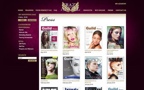 Screenshot of Press Page crazy-angel.co.uk - Crazy Angel - Press - captured May 14, 2016