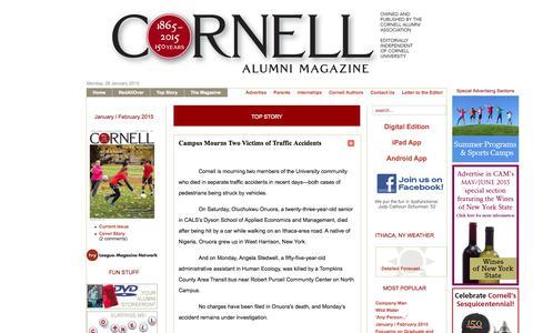 Screenshot of Home Page cornellalumnimagazine.com - Cornell Alumni Magazine - January / February 2015 - captured Jan. 27, 2015