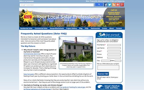 Screenshot of FAQ Page revisionenergy.com - Frequently Asked Solar Questions about Solar, Maine Solar FAQs - captured Oct. 6, 2014