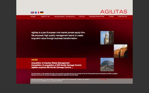 Screenshot of Home Page agilitaspartners.com - Agilitas Partners LLP - pan-European focussed mid-market private equity firm. - captured Sept. 30, 2014