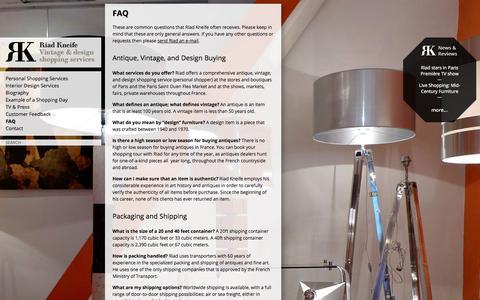 Screenshot of FAQ Page kneife.com - FAQ | Riad Kneife - captured Oct. 1, 2014