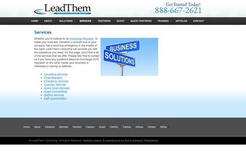 Screenshot of Services Page leadthemconsulting.com - LeadThem Consulting – Services - captured Nov. 4, 2018
