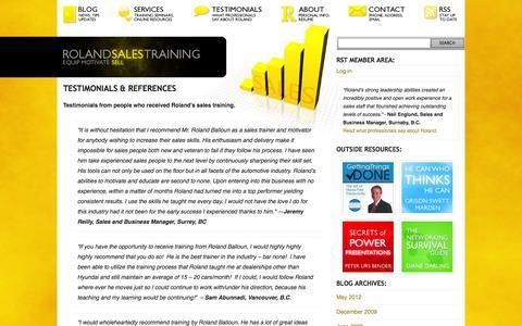 Screenshot of Testimonials Page rolandsalestraining.com - Roland Sales Training   » Testimonials & References - captured Oct. 7, 2014
