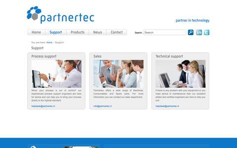 Screenshot of Support Page partnertec.nl - Support - Partnertec - captured Oct. 2, 2014