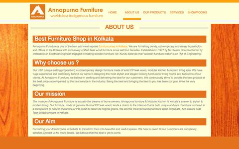 Screenshot of About Page annapurnafurniture.com - Annapurna Furniture-About Us - captured Feb. 6, 2016