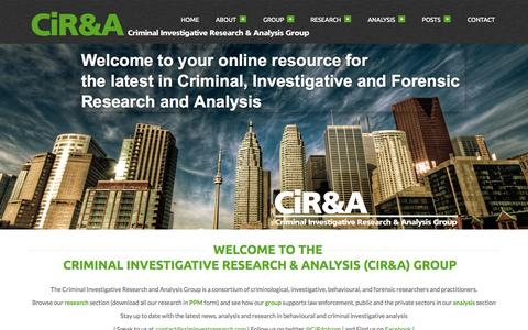 Screenshot of Home Page criminvestresearch.com - Criminal Investigative Research and Analysis Group Criminal Investigative Research and Analysis (CiR&A) Group - captured Oct. 3, 2014