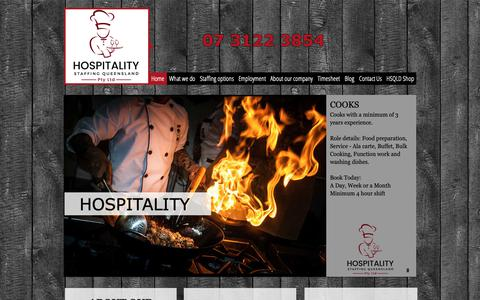 Screenshot of Home Page hsqld.com - HOSPITALITY STAFFING QUEENSLAND | BRISBANE TEMP AGENCY | CHEF COOK - captured Sept. 29, 2018
