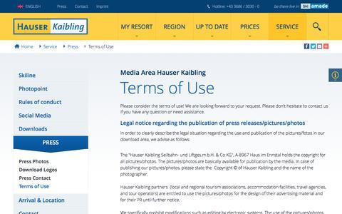 Screenshot of Terms Page hauser-kaibling.at - Media Area Hauser Kaibling - Terms of Use - captured March 31, 2017