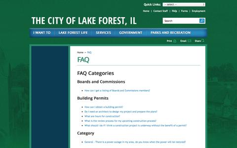 Screenshot of FAQ Page cityoflakeforest.com - FAQ | City of Lake Forest - captured Sept. 19, 2014