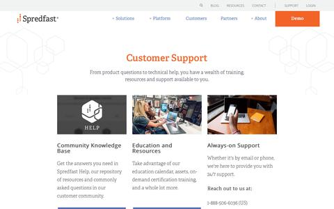 Screenshot of Support Page spredfast.com - Customer Support | Spredfast - captured Aug. 29, 2017