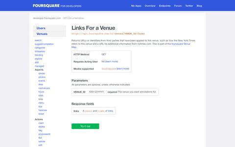 venues/VENUE_ID/links | API Endpoints