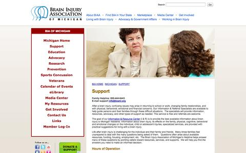 Screenshot of Support Page biami.org - Support - Brain Injury Association of Michigan - captured Oct. 5, 2014