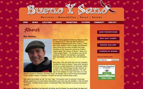 Screenshot of About Page buenoysano.com - Our History | Bueno Y Sano - captured Sept. 30, 2014