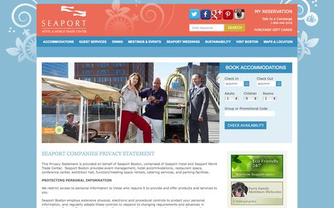 Screenshot of Privacy Page seaportboston.com - Privacy Policy | Boston Hotels: Seaport Boston Hotel and World Trade Center Boston - captured Sept. 23, 2014
