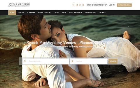 Screenshot of Home Page 5starweddingdirectory.com - 5 Star Wedding Directory | Wedding Venues & Suppliers - captured Sept. 21, 2018