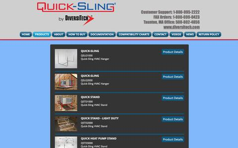 Screenshot of Products Page quick-sling.com - Quick-Sling LLC HVAC Hangers and Stands - captured Jan. 28, 2017