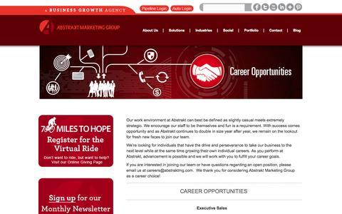 Screenshot of Jobs Page abstraktmg.com - Career Opportunities | Lead Generation Jobs| Abstrakt Marketing | Abstrakt Marketing Group - captured Sept. 23, 2014