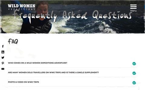 Screenshot of FAQ Page wildwomenexpeditions.com - FAQs |  Wild Women Expeditions - captured Sept. 20, 2018