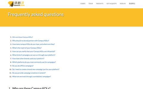 Screenshot of FAQ Page launchpilots.com - Launchpilots - captured July 3, 2016