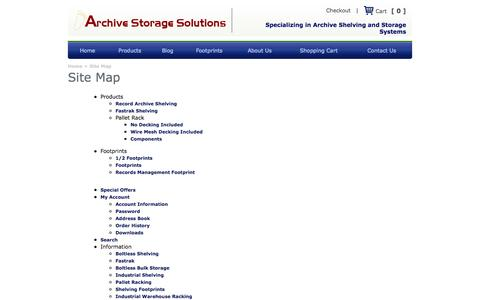 Screenshot of Site Map Page archivestoragesolutions.com - Site Map - captured Oct. 4, 2014