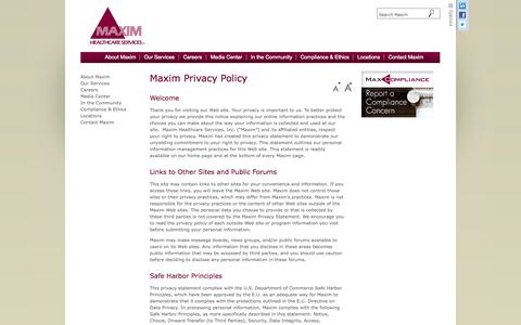 Screenshot of Privacy Page maximhealthcare.com - Privacy Policy- Maxim Healthcare Services - captured Oct. 27, 2014