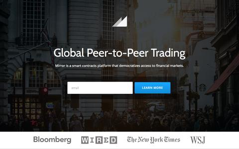 Screenshot of Home Page mirror.co - Mirror - Peer-to-Peer Trading and Financial Data Platform - captured June 17, 2015