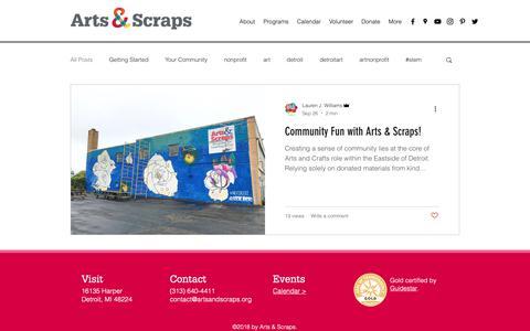 Screenshot of Blog artsandscraps.org - Arts & Scraps   Blog - captured Oct. 4, 2018