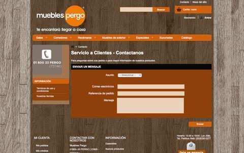 Screenshot of Contact Page mueblespergo.com - Contact us - captured Nov. 4, 2014