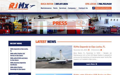 Screenshot of Press Page reliablejet.com - Press   News   Blogs   Reliable Jet Maintenance - captured Nov. 7, 2017