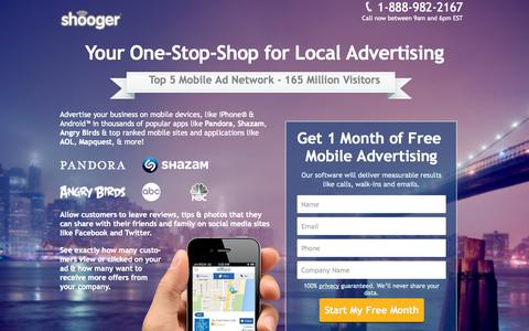 Screenshot of Landing Page shooger.com captured Oct. 27, 2014