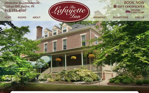 Screenshot of About Page lafayetteinn.com - Our Historic Bed and Breakfast in Easton Pennsylvania - captured Feb. 25, 2016