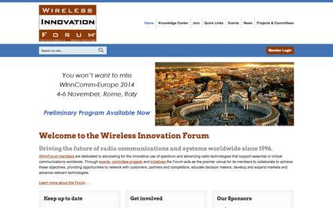 Screenshot of Home Page sdrforum.org - Wireless Innovation Forum - captured Oct. 9, 2014
