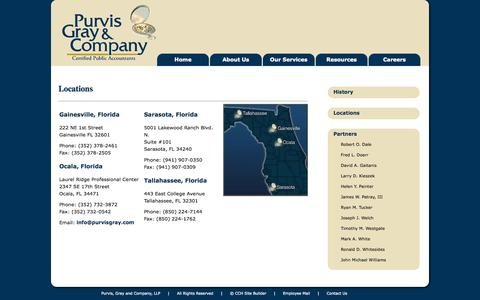 Screenshot of Contact Page Locations Page purvisgray.com - Purvis, Gray and Company, LLP - Certified Public Accountants - Locations - captured Oct. 22, 2014