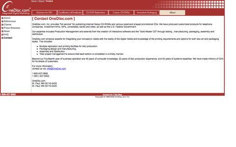 Screenshot of Contact Page onedisc.com - Custom CDs & DVDs, ISP Internet Setup, Promotional CD, Business Card CD-ROM, Advertising DVD, miniCD, mini DVD-ROM - captured Nov. 29, 2016