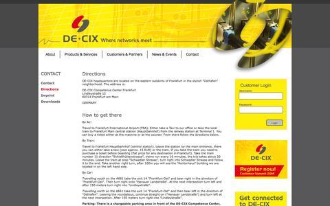 Screenshot of Maps & Directions Page de-cix.net - DE-CIX-Directions - captured Sept. 23, 2014
