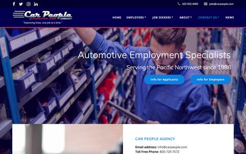 Screenshot of Contact Page carpeople.com - Contact Us – Car People Agency - captured Sept. 26, 2018