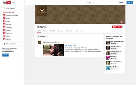Screenshot of YouTube Page youtube.com - TajJewels  - YouTube - captured Oct. 26, 2014