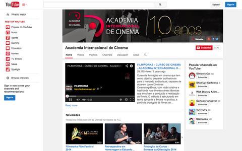 Screenshot of YouTube Page youtube.com - Academia Internacional de Cinema  - YouTube - captured Oct. 23, 2014