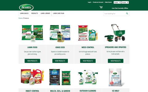 Screenshot of Products Page scotts.com - Products | Scotts Canada - captured Nov. 19, 2017