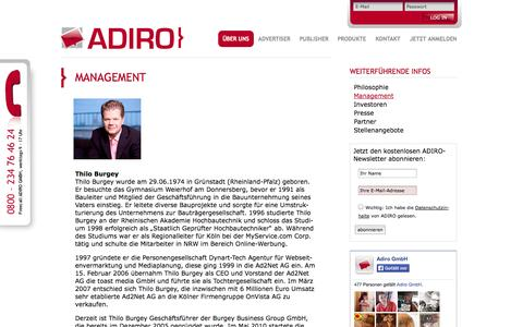 Screenshot of Team Page adiro.de - ADIRO | Management - captured Sept. 19, 2014